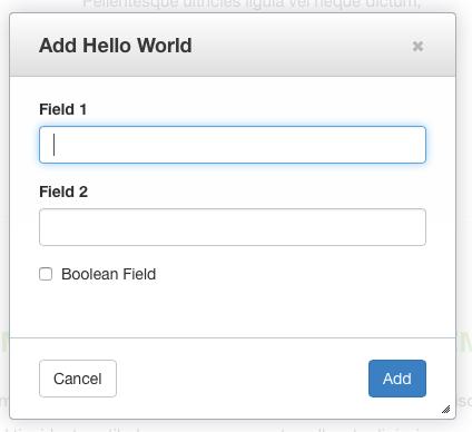 Add Hello World Block Dialog